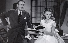 Walt Disney with Kathryn Beaumont, the voice/model for Alice in Alice in Wonderland.