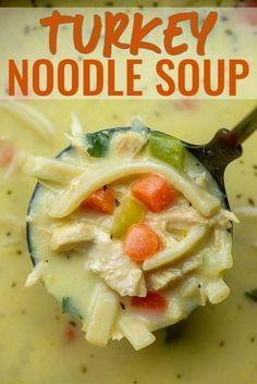 Turkey Noodle Soup is a quick way to use up that leftover turkey! Thick, creamy, and packed with veggies! #turkeynoodlesoup #souprecipe #turkey