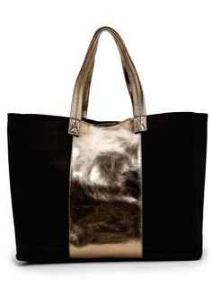 MANGO - Sac cuir empiècement métallisé - ref. Leather Purses, Leather Handbags, Leather Totes, Leather Bags, Tod Bag, Leather Bag Tutorial, Diy Tote Bag, Clutch Bags, Diy Bags Purses