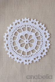 Crochet lace motif nr 4 by Anabelia Crochet Circles, Crochet Blocks, Crochet Chart, Crochet Squares, Thread Crochet, Crochet Motif, Crochet Doilies, Crochet Flowers, Crochet Stitches