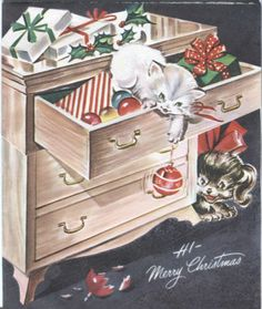 Vintage Artistic Christmas Card - Kitten and Puppy Playing in Dresser Drawers