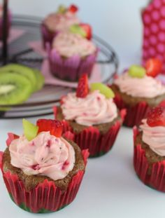 Strawberry Kiwi Cupcakes with Creamy Strawberry Kiwi Frosting