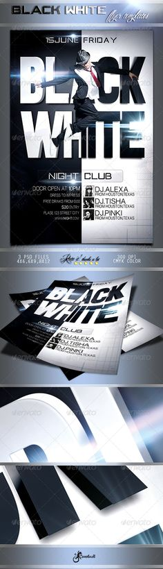 Black \ White Flyer Template Flyer template, Template and Party - black and white flyer template