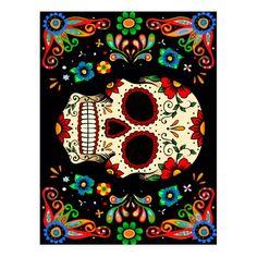 Fiesta Skull Postcard #fiesta #party #food #invitations #celebration #invites Sugar Skull Artwork, Sugar Skull Painting, Body Painting, Mexican Skull Art, Mexican Folk Art, Dibujos Sugar Skull, Halloween Art, Halloween Skeletons, Halloween Stuff
