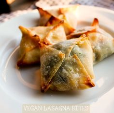 Vegan Lasagna Bites. Alreight, I wouldn't make these vegan myself, but I like the idea of bite size lasagna...and I have wonton wrappers and ricotta that needs to be used. :)