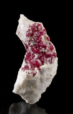 Cinnabar on Calcite from Charcas, Mun. de Charcas, San Luis Potosi, Mexico