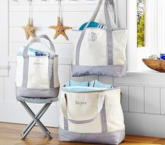 Of all the styles there are tote bags are my fave... These are super sturdy, come in several sizes and colors, and can be personalized!  --Gray Family Tote #pbkids