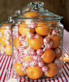 "Centerpiece with clementines and peppermint balls in glass jar. Or make it a ""remembrance jar"" by putting in things I remember my mother telling me about her Christmas in a big family on a farm. Christmas Candy, Winter Christmas, All Things Christmas, Christmas Holidays, Xmas, Christmas Projects, Winter Holidays, Christmas Ideas, Christmas Centerpieces"