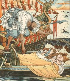 The children of Queen Blondine and sister Brunette picked up by a Corsair after seven days at sea, from the fairy tale Princess Belle-Etoile.
