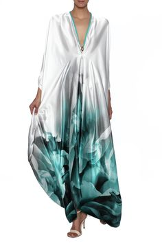 Handmade printed satin silk kaftan with long sleeves, v-neckline, empire waist, and back cut outs.    Aqua Kaftan by Le Beau Maroc . Clothing - Dresses - Maxi Clothing - Dresses - Printed Florida