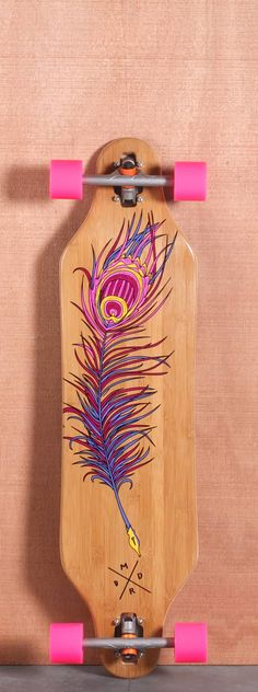 She wants to snowboard.I feel skateboarding would be a start! minus the pink wheels.make it purple and we have a deal. Madrid P-Cock Bamboo Longboard Complete Bamboo Longboard, Longboard Decks, Longboard Design, Skateboard Design, Skateboard Art, Surfboard Art, Pink Wheels, Skate Surf, Skater Girls