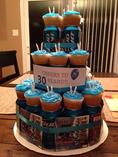 Cheers to 30 years! Beer can cake More