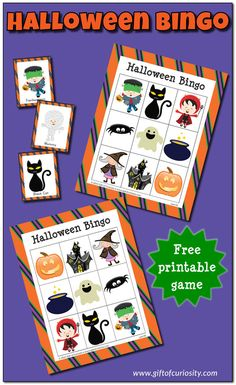 Free printable Halloween Bingo games for all ages! Cute graphics, and I love the suggestions for using Bingo to support kids' development of executive functioning skills! || Gift of Curiosity