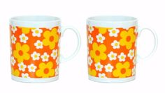 Set 2 Vintage Daisy Flowers Mugs 70's Orange Yellow White Cups 8 oz Japan EUC