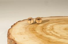 Allium Flower Tiny Stud Earrings Bamboo by BeamDesigns on Etsy