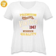 Geburtstag - 50. Geburtstag Vintage 1967 - L (48) - Weiß - JHK603 - Weit geschnittenes Damen Shirt in großen Größen mit V-Ausschnitt - Shirts zum geburtstag (*Partner-Link)