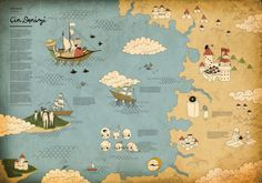 """This is the first map, mentioned in Piri Reis - Seven Seas book. At left you see the whole story Piri is telling us and there is illustrations of what he mentioned in the island and in China.""    Quite lovely :)"
