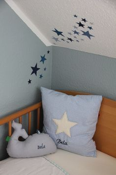 Andrea has applied our adhesive foil stars for Bela to the wall in the nursery. We think the color combination looks just great - Kinderzimmer - Kinderzimmer Ideen Baby Boy Rooms, Baby Room, Baby Zimmer, Star Stickers, Room Colors, Wall Design, Cool Furniture, Bed Pillows, Kids Room