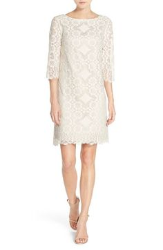 Free shipping and returns on Eliza J Lace Shift Dress (Regular & Petite) at Nordstrom.com. Romantic detailed lace brings rich texture and dimension to a bateau-neck shift dress designed with eyelash lace-trimmed edges along the three-quarter sleeves and hem.
