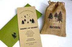 Woodland Backyard Camping Birthday Party Invitation - No. 10 Top Closure Envelope, Personalized Burlap Goodie Bag, Multi-Layered. $58.00, via Etsy.