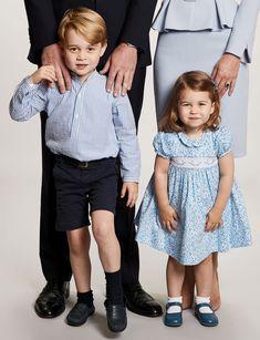 Prince George and Princess Charlotte on the 2017 Royal Christmas Card.
