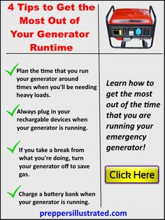 Click here to use for tips that can help you conserve gasoline when using your backup generator during an emergency.