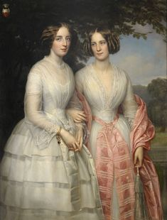 Reventlow sisters, Countesses Hilda Sophie Charlotte in pink and Malvina Anny Louise in white by August Heinrich Georg Schiøtt (auctioned by Stockholms Auktionsverk) the lost gallery