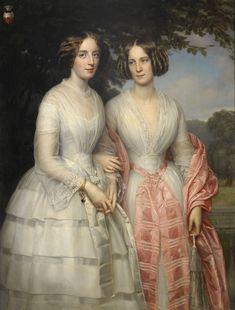 Retrato de las hermanas Malvina Anny Louise y Hilda Sophie Charlotte Reventlow en el bosque. Heinrich August Georg Schiøtt - Danmark (1823-1895).