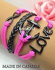 Womens Bracelet Infinity Love Anchor Hot Pink Velvet Black Leather Braid  K861