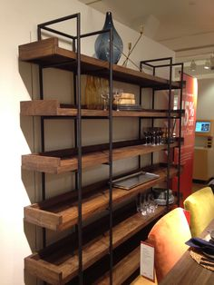 Beckett Shelving - I want this for my living room. Diy Furniture Decor, Loft Furniture, Metal Furniture, Unique Furniture, Furniture Design, Steel Bookshelf, Bookcase Wall, Bookcases, Stairway Storage