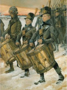 """Porilaisten marssi"" (Finnish Soldiers in the war of by Albert Edelfelt. The war was fought between Sweden and Russia and as a result, the eastern third of Sweden was established as the autonomous Grand Duchy of Finland within the Russian Empire. Helene Schjerfbeck, Ancient History, Art History, Prinz Eugen, Facts For Kids, Chur, Old Paintings, Napoleonic Wars, Musical"