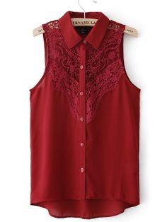 Shop the affordable Burgundy Lapel Sleeveless Lace Embellished Chiffon Blouse from Tops collection that inspired by most covetable trends. Save your budget by purchasing your Burgundy Lapel Sleeveless Lace Embellished Chiffon Blouse here! Red Chiffon, Chiffon Shirt, Sleeveless Shirt, Top Chic, Red Shirt, Red Vest, Red Blouses, Red Lace, Dress Up