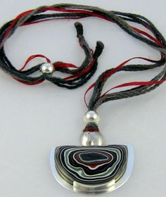 Sterling Silver and Fordite OOAK Necklace.  Handcrafted by ZaZing, NZ$180.00 #fordite