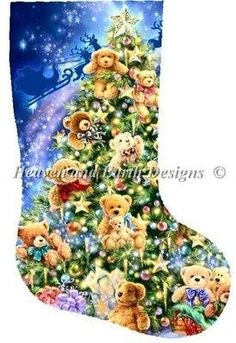 Stocking Teddy Bear Tree cross stitch chart by Heaven and Earth Designs HAED