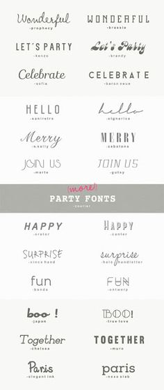 25 more great fonts for parties 25 (MORE!) GREAT PARTY FONTS {A Subtle Revelry} The post 25 more great fonts for parties appeared first on Film. Great Fonts, Fancy Fonts, Cool Fonts, Elegant Fonts, Illustration Inspiration, Graphic Design Inspiration, Typography Letters, Hand Lettering, Photoshop