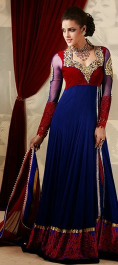 $102 Anarkali Suits, Net, Machine Embroidery, Sequence, Resham, Floral, Stone, Valvet, Patch, Zari, Thread, Blue Color Family