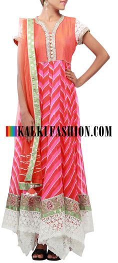 Buy Online from the link below. We ship worldwide (Free Shipping over US$100) http://www.kalkifashion.com/pink-and-orange-anarkali-suit-enhanced-in-kundan-and-handkerchief-cut-only-on-kalki.html Pink and orange anarkali suit enhanced in kundan and handkerchief cut only on Kalki