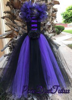 Vestido de Maléfica con cuernos por PixieDustTutusbows en Etsy
