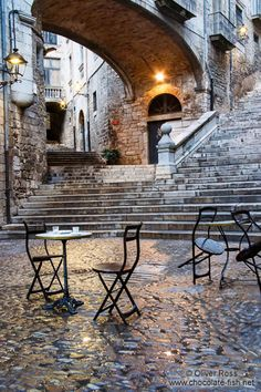 Square in Girona`s historical old town, Catalonia, Spain.