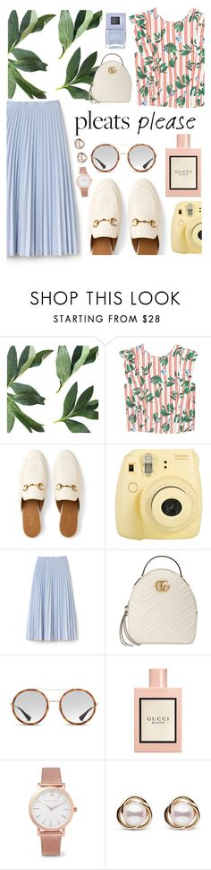 """""""Pastel pleats"""" by arilubl ❤ liked on Polyvore featuring MANGO, Gucci, Fuji, Lacoste, Larsson & Jennings, Trilogy and Nails Inc."""