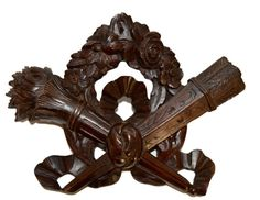 French Louis XVI Hand Carved Walnut Pediment - Cornice Door Furniture Top - Furniture Salvage Wood - Upcycled DIY