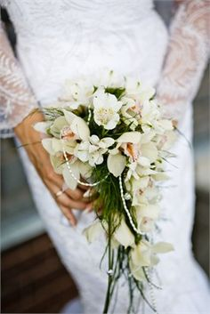 Lace Wedding Gown with White Florals - Kerry Jackson-Rider Luxury Wedding Planning #wedding #flowers