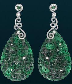 David Marshall Jade and diamond earrings, gorgeous