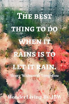We all have rainy days. The most productive thing we can do is to just let it rain. Whether it's sadness, depression, anxiety, grief. Pain comes, and pain goes. Let it come, then let it go. Just let it be what it is in the moment, then what it is in the next moment, and the next.