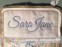 """Hang to Dry Applique - Penelope Embroidery Font, $1.00, upper case letters range from 1/2"""" up to 4"""" depending on size and letter attributes.(http://www.hangtodryapplique.com/penelope-embroidery-font/)"""