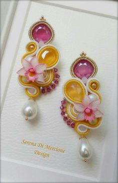 Soutache Necklace, Beaded Earrings, Earrings Handmade, Handmade Jewelry, I Love Jewelry, Wire Jewelry, Jewelery, Jewelry Making, Shibori