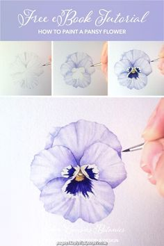 Free tutorial taking you step-by-step painting a lovely pansy with watercolours A lovely botanical illustration project perfect with a cup of tea on the weekend Dip your toes into the world of botanical art and watercolor Less Watercolor Flowers Tutorial, Acrylic Painting Flowers, Watercolor Painting Techniques, Watercolour Tutorials, Watercolor Drawing, Floral Watercolor, How To Watercolor, Watercolor Tutorial Beginner, Flower Drawing Tutorials