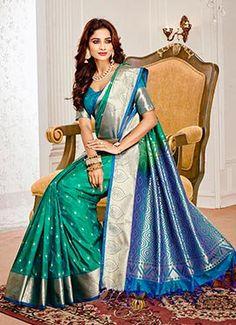 c5b297e8a8 Green Color Art Pattu Silk Saree 1003a | baby shower | Silk sarees ...