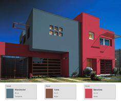 Una propuesta fresca para tu fachada. #tips #fachada #hogar #casa Box House Design, Modern House Design, Color Combinations Home, Box Houses, House Paint Exterior, Exterior Colors, Room Colors, House Painting, Real Estate