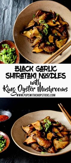 Simple & quick noodle recipe with a black garlic sauce, that's packed with sweet garlicky smoky flavours (garlic noodles recipe) King Oyster Mushroom Recipe, Mushroom Recipes, Vegetarian Recipes, Cooking Recipes, Healthy Recipes, Vegan Meals, Superfood Recipes, Veg Recipes, Drink Recipes